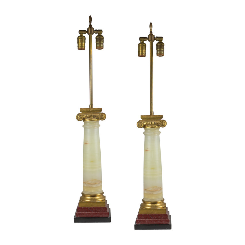 Pair of Neo-Classical Ormolu-mounted Marble Column Table Lamps