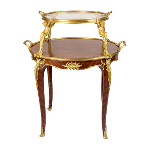 A Magnificent French Kingwood and Bois Satine Parquetry Ormolu-Mounted Tea-Table by François Linke