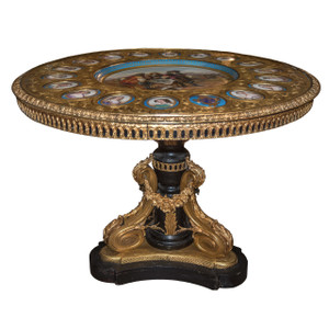 A Monumental Ormolu-Mounted Painted Wood and Sevres Porcelain Gueridon