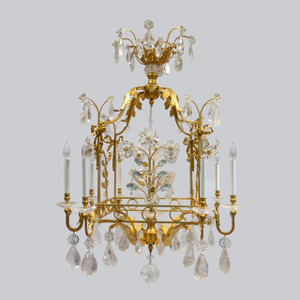 A Charming Gilt-Metal and Rock Crystal Cage-Formed Eight-Light Chandelier