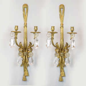 A Pair of Fine Quality Gilt Bronze and Rock Crystal Two-Light Sconces