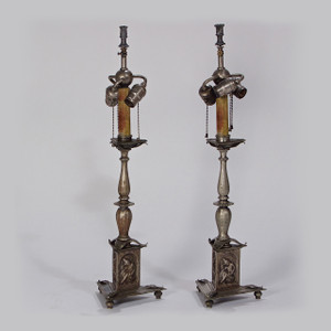 A Fine Pair of French Silvered-Bronze Lamps