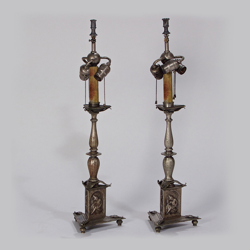 Pair of French Silvered-Bronze Lamps