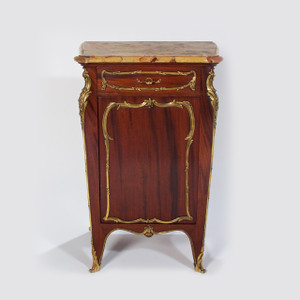 A Fine Louis XV Style Ormolu-Mounted Mahogany and Marble-Top Side Cabinet