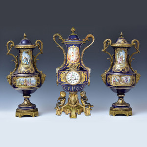 A Fine Quality 19th Century Sèvres Ormolu-Mounted Porcelain Clockset