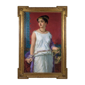 A Painting of a portrait of a beautiful Grecian beauty.