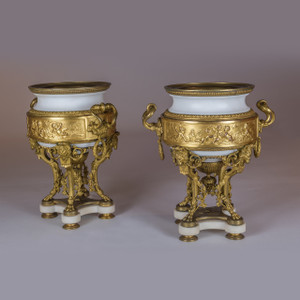 A Fine French Gilt Bronze and Marble Urn with Ram's Heads