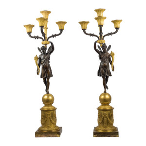 Gilt Bronze Four-Light Candelabras