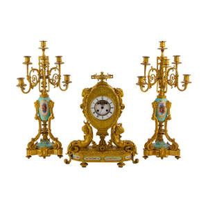 Napoleon III Sevres Porcelain Mounted Ormolu Clock set