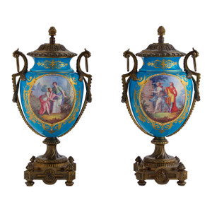 A Fine Pair of Sèvres Style Bronze Mounted Jeweled Porcelain Vases and Covers.