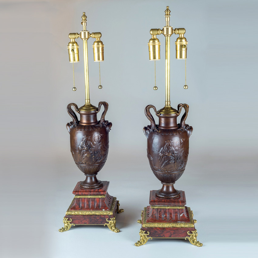 Pair of Neo-Classical Revival Bronze Urns Mounted as Lamps