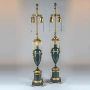 A Fine Pair of 19th Century French Patinated Bronze Lamps