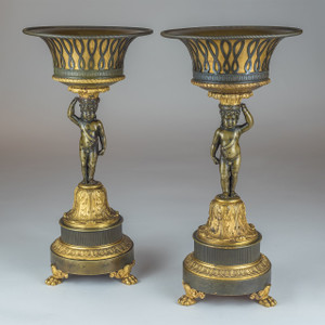 A High Quality Pair of Patinated and Gilt Bronze Figural Empire Tazzas