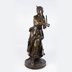 A Fine Patinated Bronze Sculpture of an Egyptian Dancer by Alexandre Falguiere