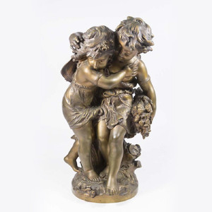 A Fine Patinated Bronze Sculpture of Girls Playing by Mathurin Moreau