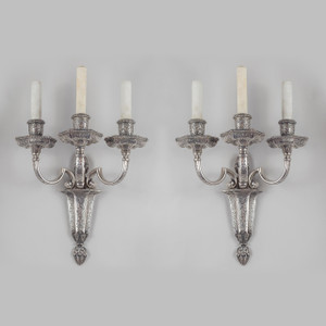 A Fine Quality Pair of Silvered Bronze Three-light Caldwell Sconces