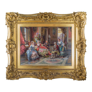 Oil painting of a gathering of ladies and gentleman in interior setting