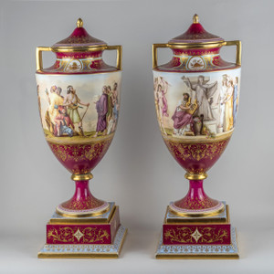 A Fine Neoclassical-style Royal Vienna Porcelain Covered Urns