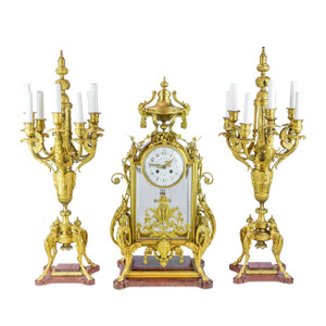 A 19th Century Napoleon  III Ormolu and Rouge Griotte  Marble Clock Set Attributed to Ferdinand Barbedienne