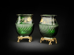 A Magnificent Pair of Baccarat Emerald Green Japanesque Vases