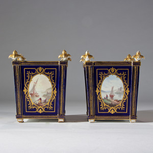 A Fine Pair of Sèvres-style Cobalt-ground Blue Porcelain Planters