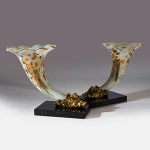 A Rare Pair of Gilt Bronze and Rose Opaline Baccarat Glass  Cornucopia Vases