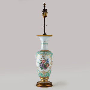 A Rare French Opaline Baccarat Glass and Parcel-Gilt Vase Mounted as Lamp
