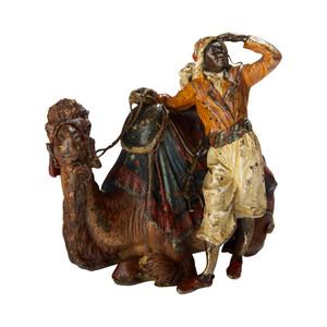 An Austrian Cold-painted Bronze Sculpture of a Camel Rider by Franz Bergman