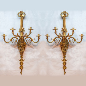 A Pair of Louis XVI Style Gilt Bronze Five-Light Wall Sconces