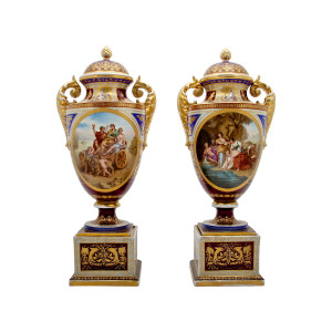 A Fine Pair of Royal Vienna Porcelain Vases and Covers with Mythological Scenes