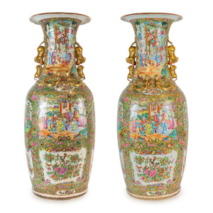 A Monumental Pair of Chinese Export Rose Medallion Palace Vases