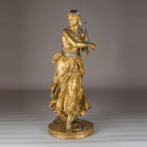 A Fine Quality Gilt Bronze Figure of an Egyptian Dancer by Falguière