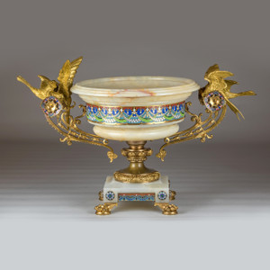 A Fine Quality Large Gilt-bronze Mounted Champlevé Enamel and Onyx Centerpiece
