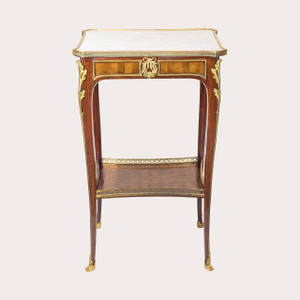 A Fine Louis XV-style French Ormolu-mounted Mahogany Marble-top Side table