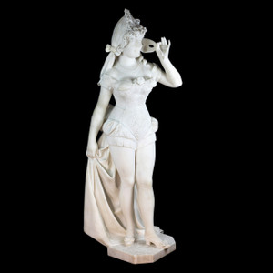 A Monumental Italian White Carrara Marble Sculpture of an Elegant Woman in a Masquerade by Fortunato Galli