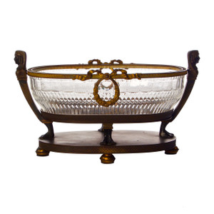 A Fine Egyptian Revival Bronze and Cut Glass Centerpiece