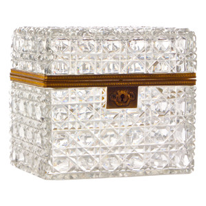 A Stunning French Bronze Mounted Cut Glass in Emerald Cut Casket attributed to Baccarat