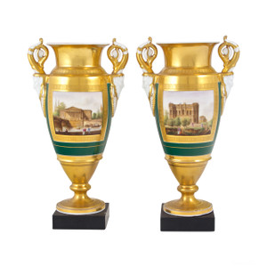A Fine Pair of Paris Porcelain Gold-Ground Vases