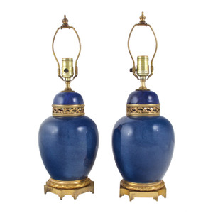 Pair of French Ormolu-Mounted Blue-Ground Porcelain Vases Fitted as Lamps
