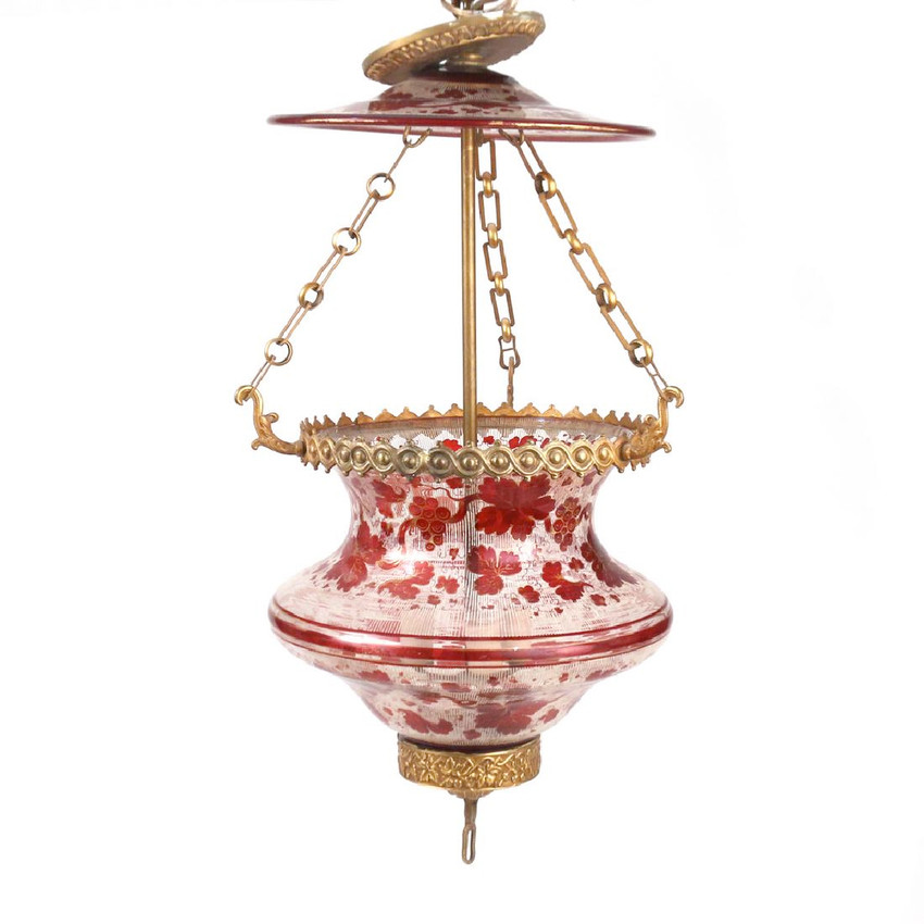 Ormolu-Mounted Bohemian Enameled Glass Hanging Fixture