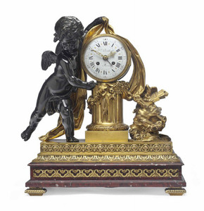 Ormolu and Patinated Bronze Mantel Clock