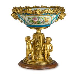 A Rare French Gilt-bronze Mounted Porcelain Centerpiece