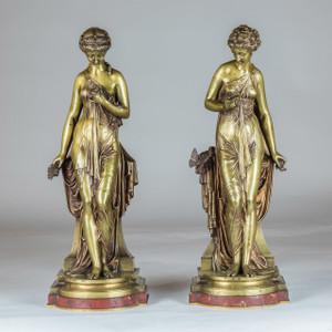 A Fine Pair of Gilt-Bronze Classical Beauty by Paul Dubois
