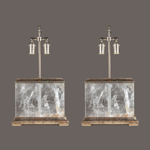 Pair of Continental Rock Crystal Lamps