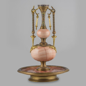 Exceptional Gilt-Bronze and Champlevé Enamel Onyx Centerpiece
