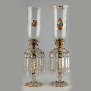 Exceptional Pair of Bohemian Hurricane Lamps with Lusters