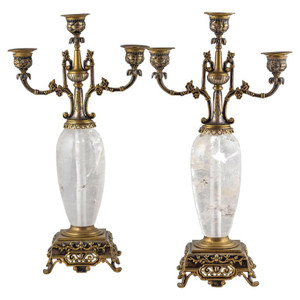 Pair of Silvered and Gilt Bronze Rock Crystal Three-Light Candelabra