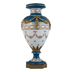 A Fine Quality Sèvres-style Ormolu-Mounted Sevres Porcelain Bleu Vase