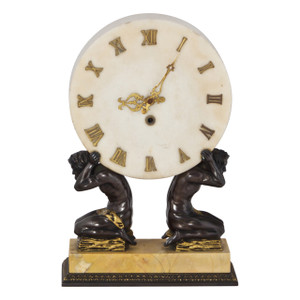 Gilt and Patinated Bronze Marble Mantle Clock By E. F. Caldwell