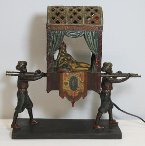 A Fine Austrian Cold Painted Bronze Figural Lamp